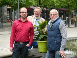 Michaël Chaillaud et Patrice Demoures, co-présidents de Coeur de ville, Claude Lamy, le trésorier, ainsi que toute l'association vous donnent rendez-vous les 11 et 12 mai place de la Victoire.