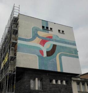 La fresque de la façade est du bâtiment Canopé
