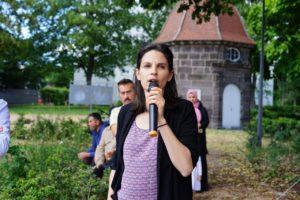 Marianne Maximi en pleine campagne pour les municipales.
