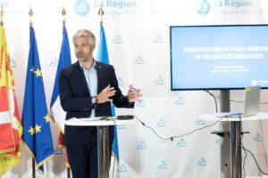 Laurent Wauquiez présente le plan de relance économique de la Région. la R