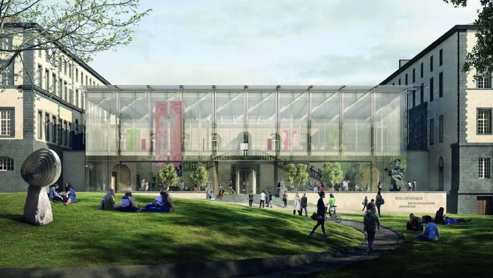 Clermont Bibliothèque métropolitaine Vue Exterieure A depuis le Jardin de Lecture (c) Forbes Massie