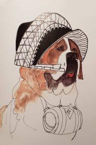 """Pour ce chien pompier """"C'est Montpied bon œil / dessin Régis Guillot"""